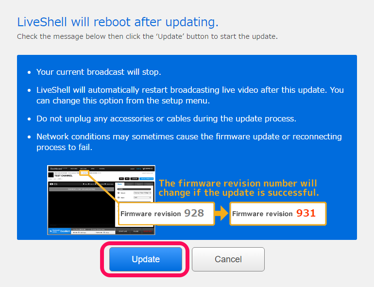 6  Firmware Update | LiveShell Manual