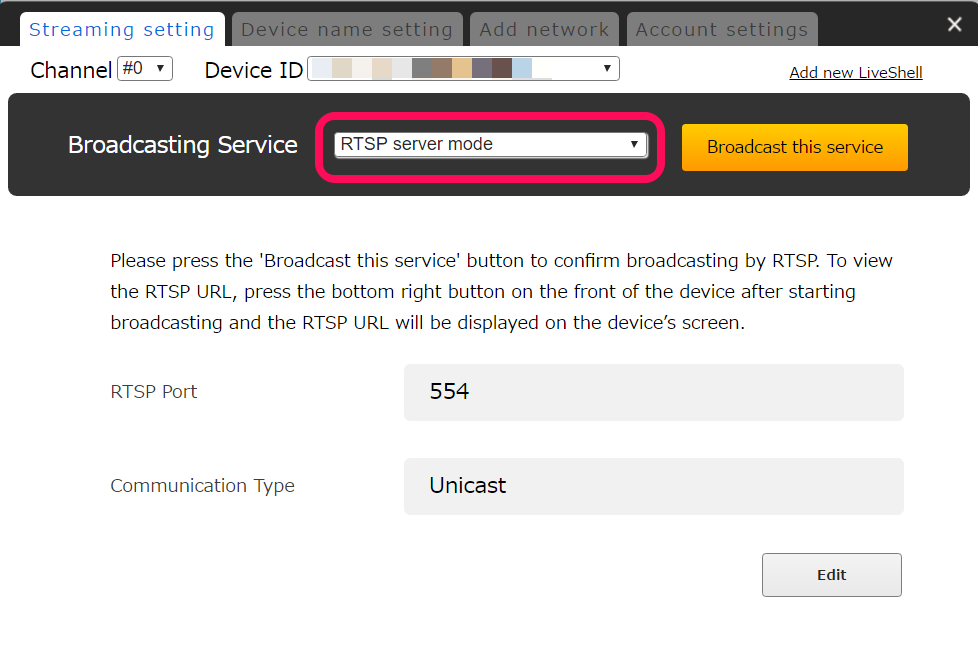 5-7  RTSP server settings | LiveShell Manual
